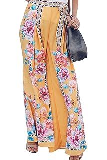 8f4d0f083fe2a8 SySea Womens Palazzo Floral Print High Waist Belt Wide Leg Boho Pants