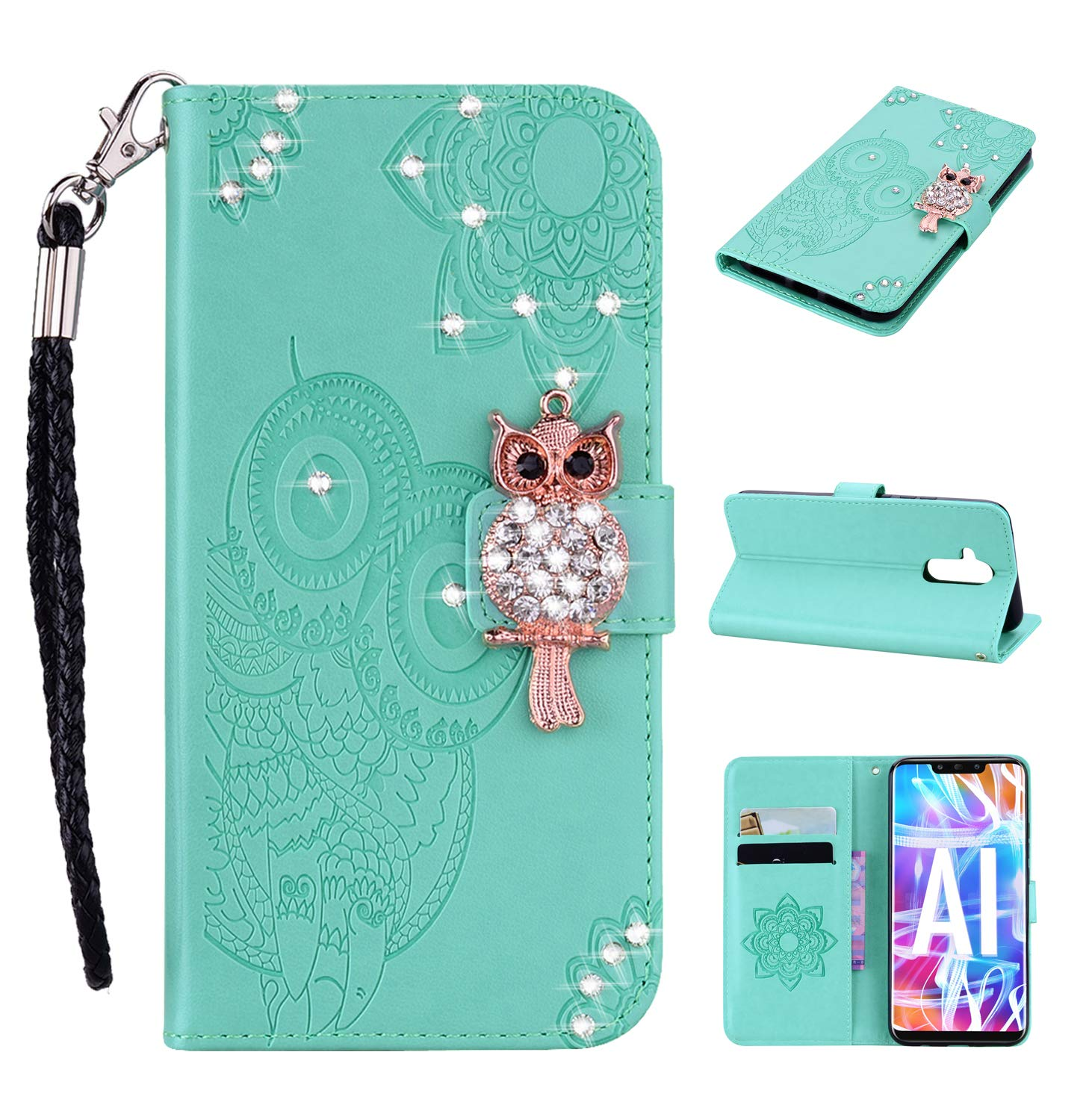 Amocase Wallet Case with 2 in 1 Stylus for Huawei Mate 20 Lite,3D Bling Gems Owl Magnetic Mandala Embossing Premium Strap PU Leather Card Slot Stand Case for Huawei Mate 20 Lite - Mint Green by Amocase