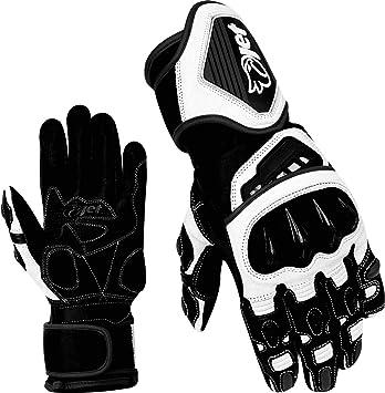 2XL, Black//White JET Motorcycle Motorbike Gloves Premium Full Leather Gauntlet Race Hard Knuckle Gloves