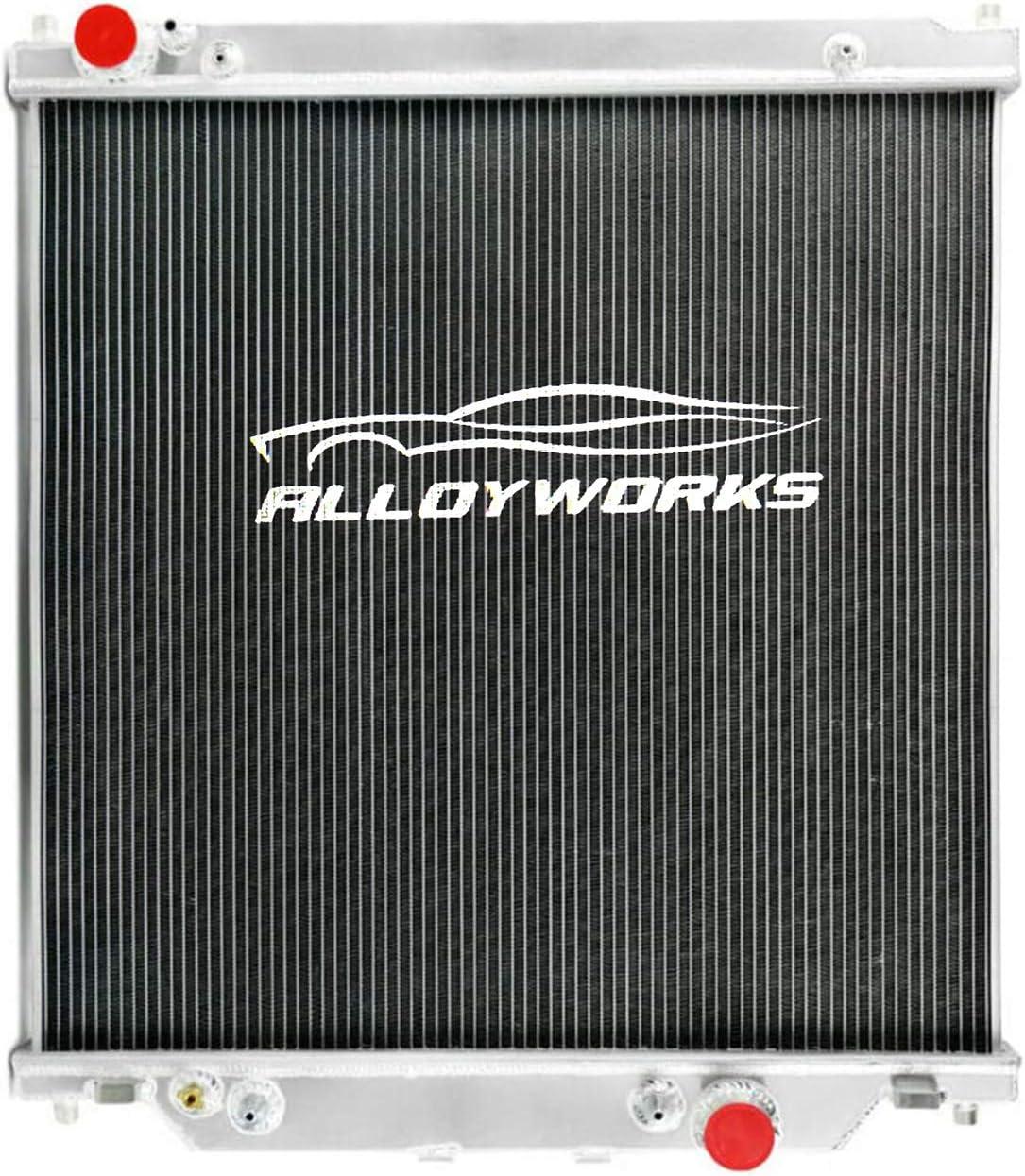 ALLOYWORKS Ford F-Series Radiator, 2 Row All Aluminum Radiator For 2003-2007 Ford F-Series 250/350/450/550/53 Turbo Diesel 6.0L Powerstrok