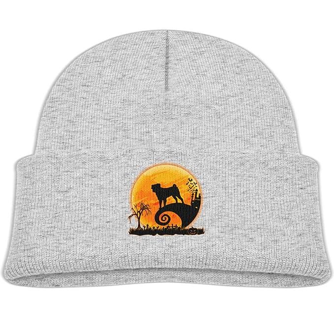 8445b39025206 Amazon.com  Qiop nee Pug and Moon Halloween Beanie Hats Knit Cap Boy ...