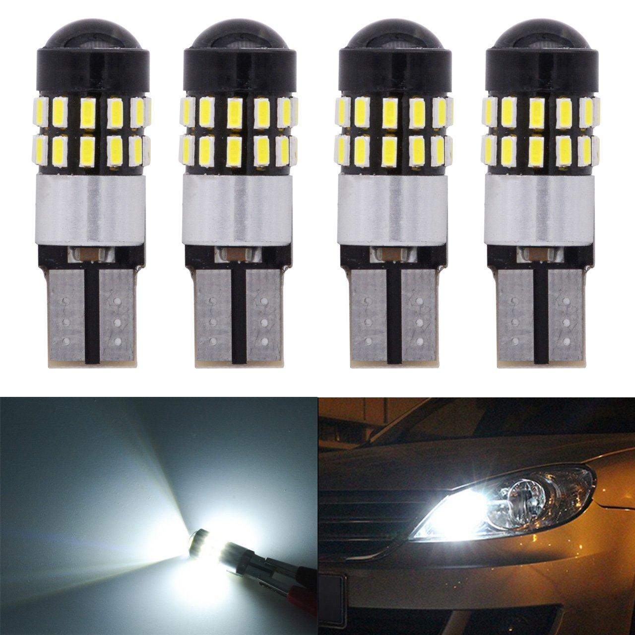 KaTur T10 168 175 194 2825 W5 W lampadine LED CanBus Erro free 3014 30SMD Lens 300LUMENS super luminose DC 12 V interno faretto luce di servizio, targa laterale luci allo xeno bianco 2,7 W (confezione da 2) 2AM-CL-1217-White