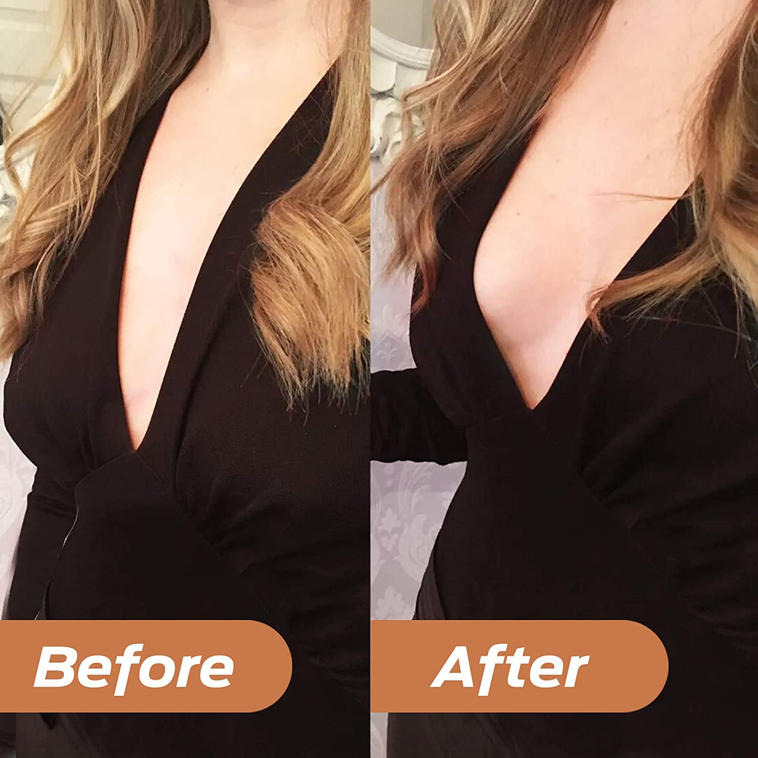 Adhesive Bras Breast Lift Tape Nipple Covers Strapless Invisible Bra for Women Push up Beige//Black,2 Pack