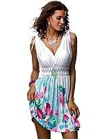 Jinhuanshow Women's Low Cut Floral Printed Summer Above Knee Sleeveless Dresses