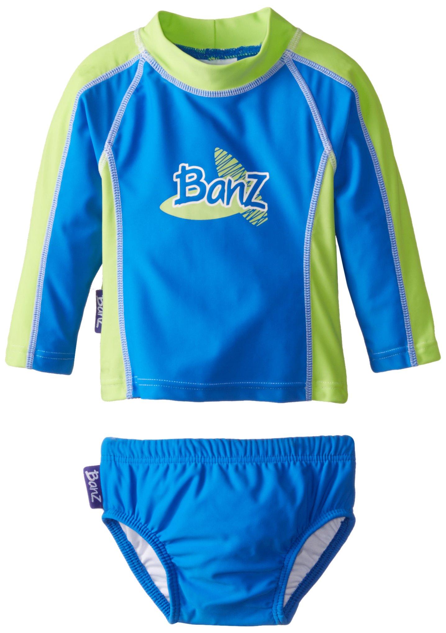 Baby Banz Baby Boys' Long Sleeve Rash Guard and Swim Diaper Set Blue Green, Blue/Green, 6 12 Months by Baby Banz
