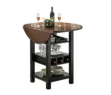 Bernards Ridgewood Drop Leaf With Wine Rack Table, Black And Mahogany Finish