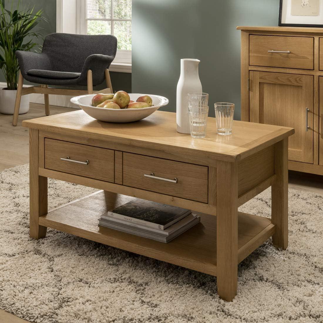 Wooden Coffee Table, Storage, Oak