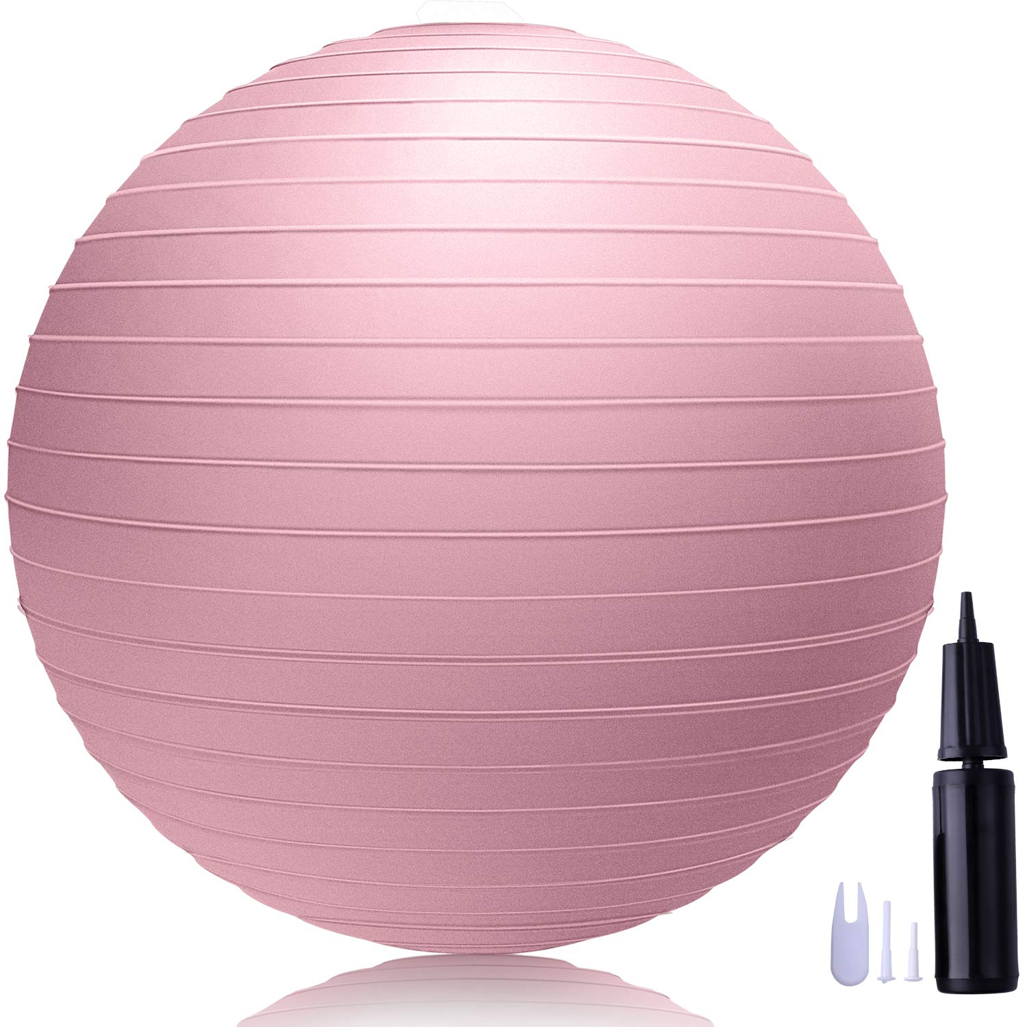 LAKIBOLE 75cm Exercise Ball Anti-Burst Yoga Ball with Quick Pump for Office & Home & Gym (Pink)