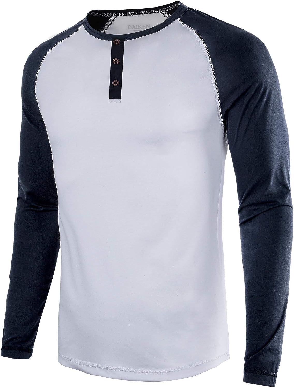 Mens Casual Long Sleeve T Shirt Raglan Henley Baseball Shirts for Men