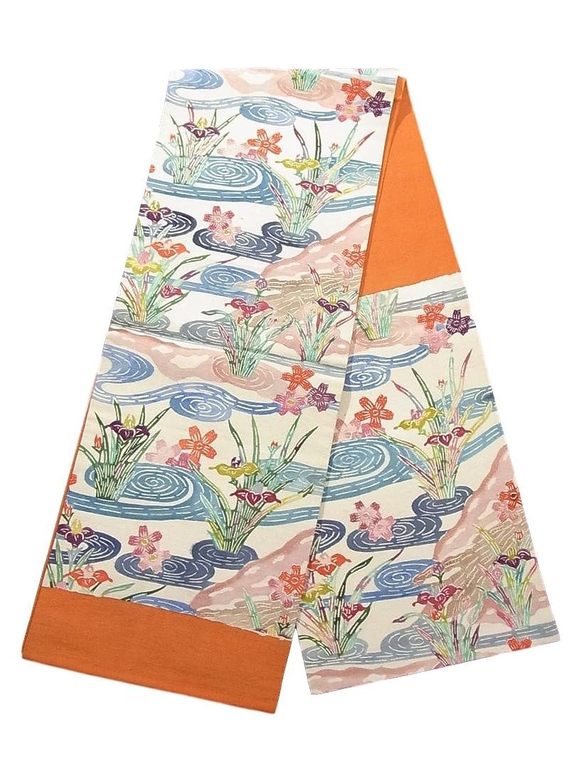 リサイクル 名古屋帯 紬 流水に桜と花菖蒲 正絹 B07FTDHW81  -
