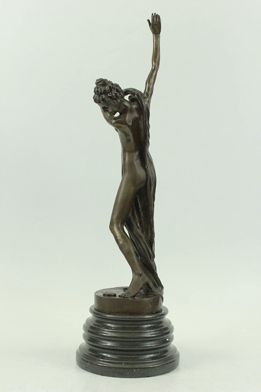 Ornate Elegant Women Nude Bronze Statue Urn Vase Classical Art Sculpture Figure