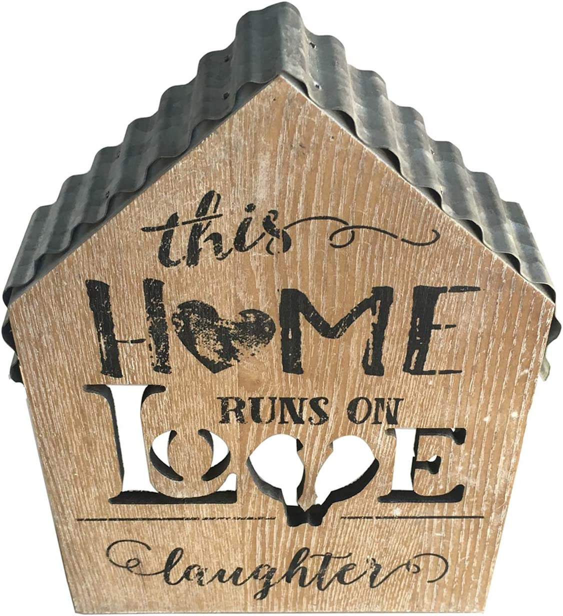 Love Home Mini House Model Decor with Iron Roof, Wooden Rustic Farmhouse Block Sign Coffee Table Decoration with Hollow Letters, This Home Runs on Love Laughter