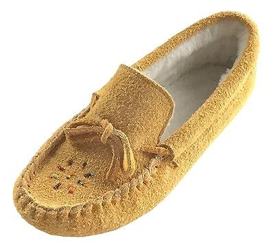 39ba5ca03 Bastien Industries Women's Fleece Lined Genuine Suede Beaded Moccasin  Slippers ...