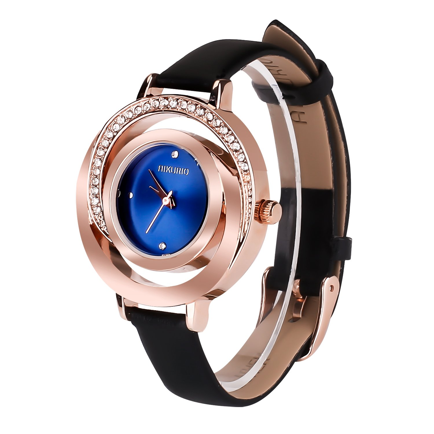 Women Ladies Wrist Watch Waterproof Design with Alloy Case Leather Strap and Japanese Movement (Black Band&Blue Case) by AIKURIO