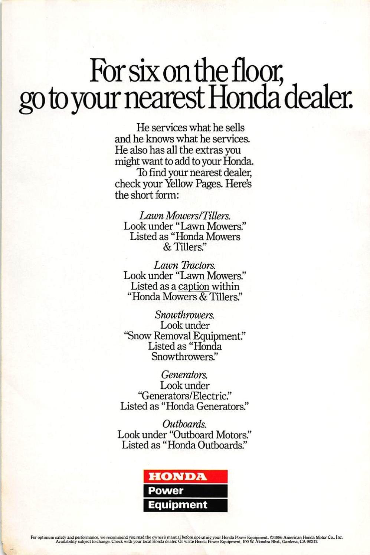 Nearest Honda Dealer >> Amazon Com Print Ad 1986 Honda Power Equipment For Six On