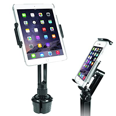 """Macally Heavy-Duty Tablet Holder for Car - Works as Cup Holder Tablet Mount and Phone - Apple iPad Pro 10.5 9.7 Air Mini, Samsung Galaxy Tab, iPhone 11 Pro Xs Max XR X & Mobile Device Up to 8"""" Wide"""