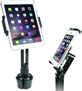 """Macally 2-in-1 Heavy-Duty Car Cup Holder Mount - Works with Tablets and Phones - Apple Ipad Pro 10.5 9.7 Air Mini, Samsung Galaxy Tab, iPhone Xs Max XR X Any Mobile Device Up to 8"""" Wide (MCUPPRO)"""