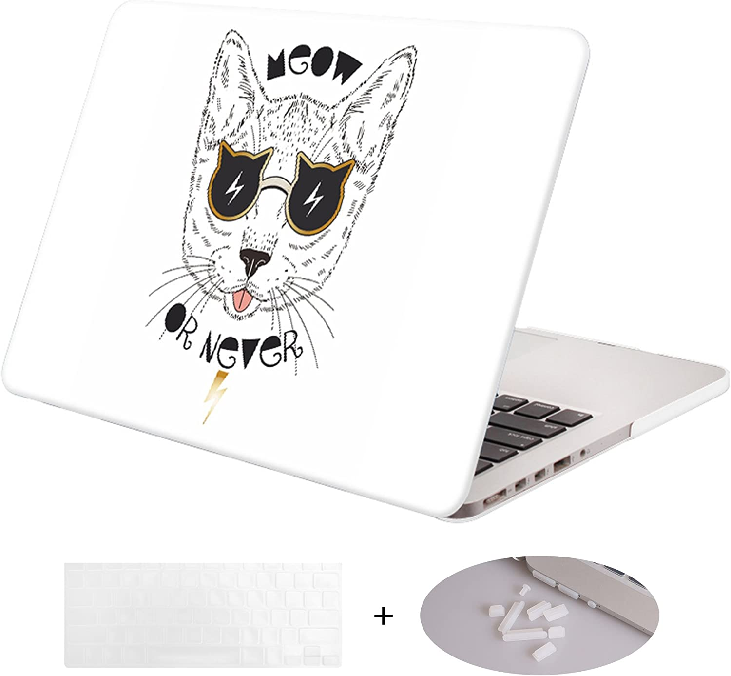 DWON MacBook Case Pro 13 Inch with Retina with Keyboard Cover and Dust Plug for Apple MacBook Pro 13 Inch Sleeve Model (A1502/A1425, Version 2015/2014/2013/end 2012) - White Cat