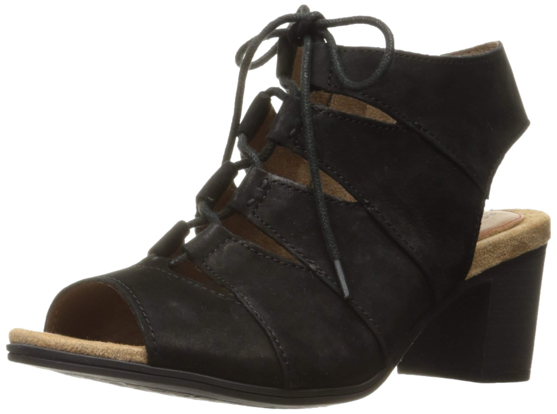 Rockport Women's Hattie Laceup Heeled Sandal, Black, 8 M US