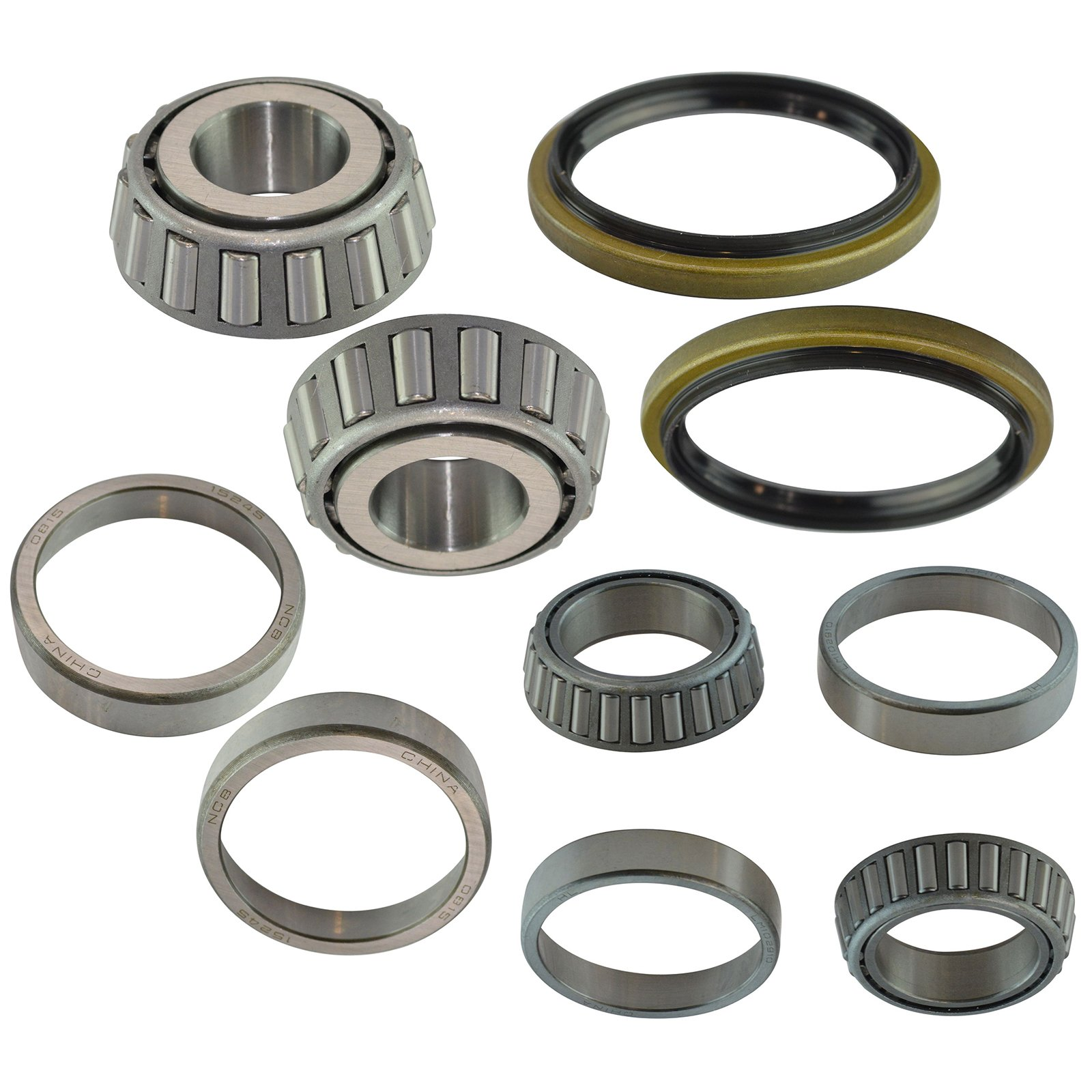 8 Piece Inner & Outer Wheel Bearing Race w/Seal Kit LH & RH Sides for Ford Truck by TRQ