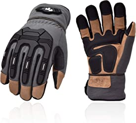 Size XL,Dark Blue,GA2458FW Vgo 2Pairs 32℉ or Above 3M Thinsulate C40 Winter Goatskin Leather Water Repellent Anti-Abrasion,Impact Work Gloves