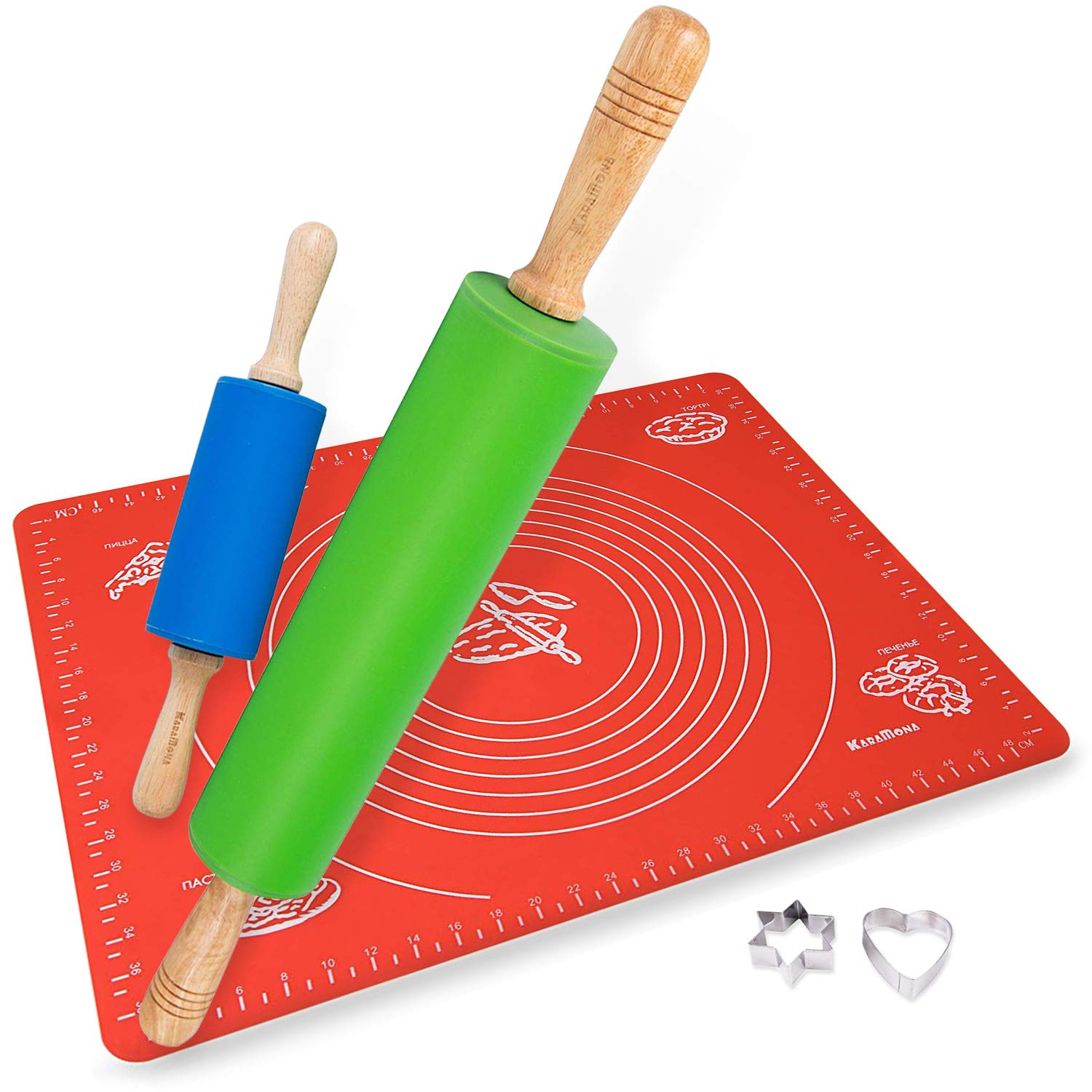 KaraMona Silicone Rolling Pin And Mat & Bonus Cookie Cutters Set: Large Silicone Rolling Pin, Mini Silicone Rolling Pin, 1 Large Silicone Mat For Rolling Dough, 2 Stainless Steel Cookie Cutters