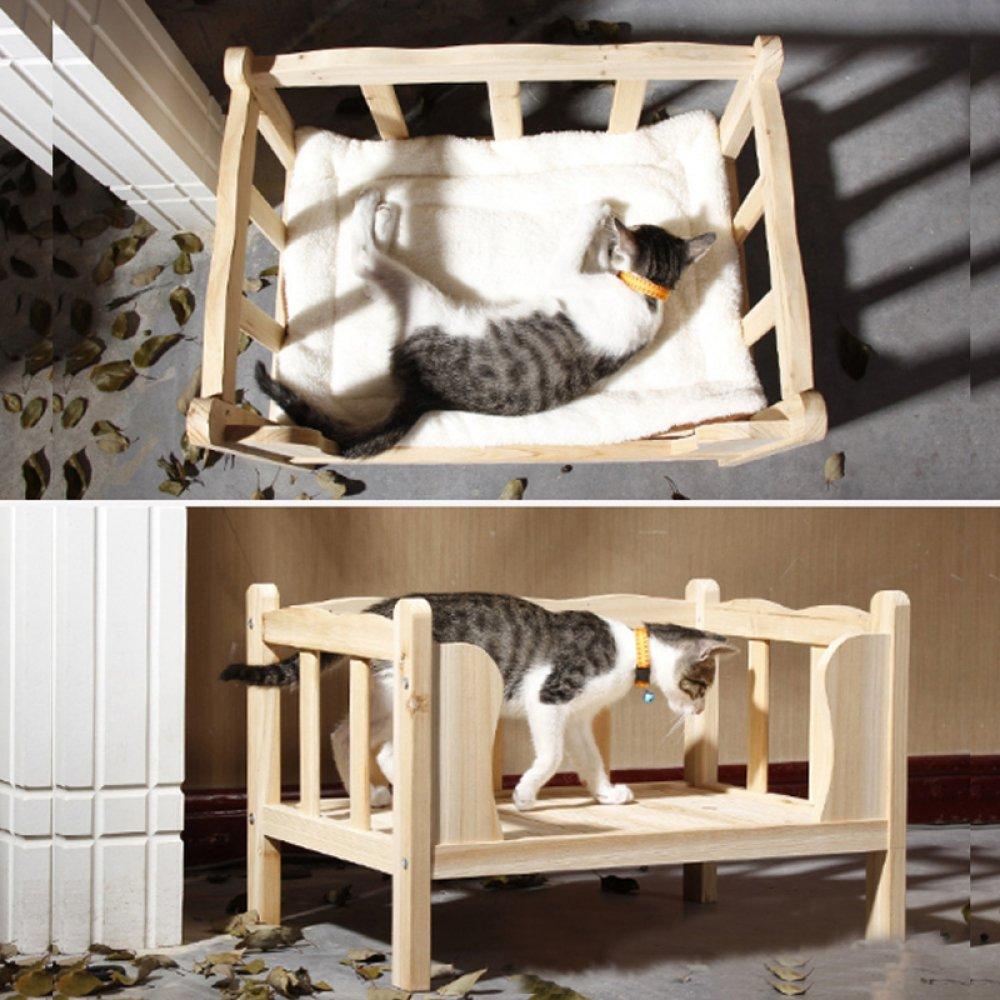 AYCC Cama para Mascotas De Madera Maciza Casa De Perro De Madera Perrera Y Perrera Inodoro Lavable Todas Las Estaciones con Cojines: Amazon.es: Hogar