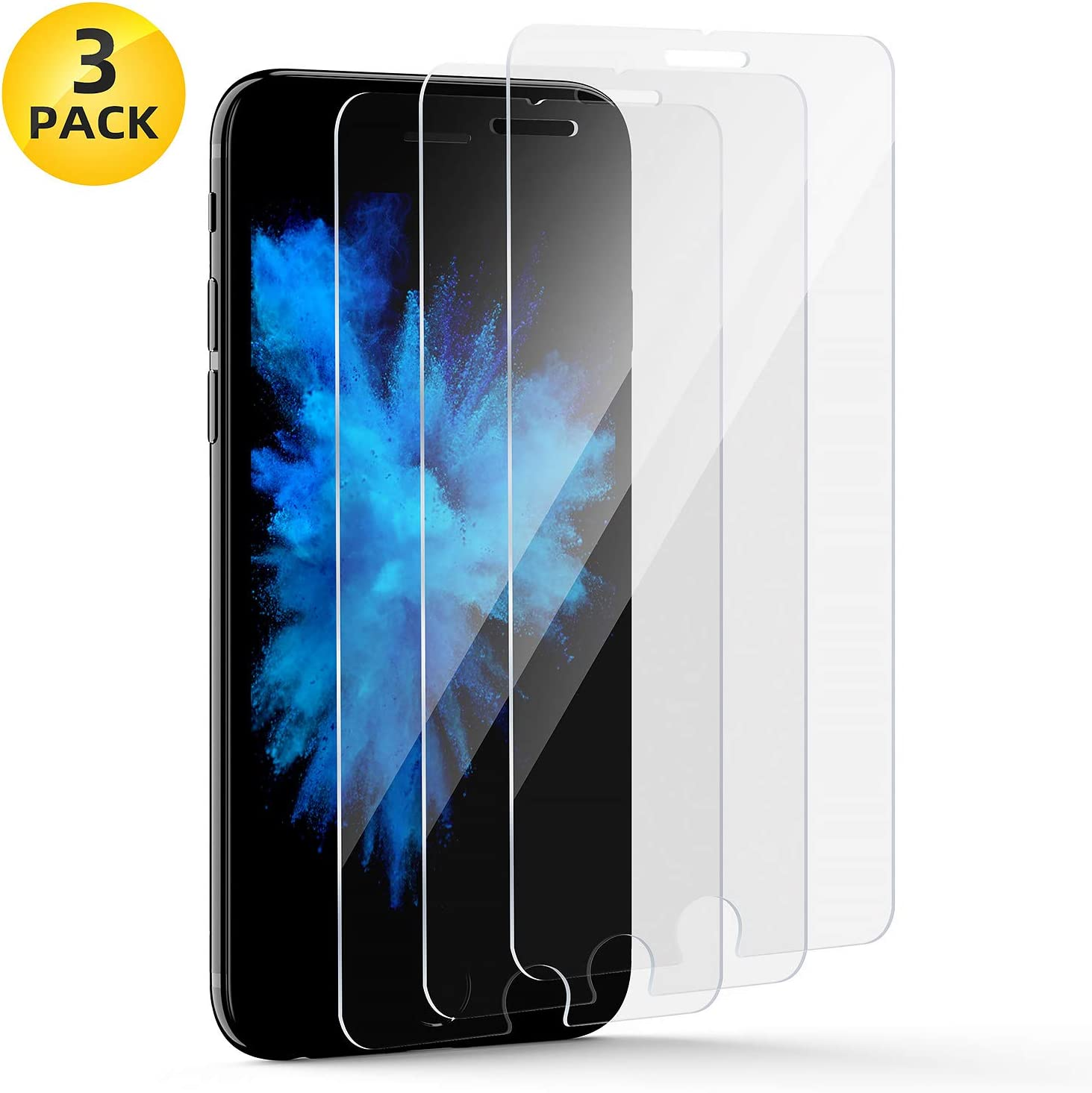 Glass Screen Protector Film for iPhone 8 and iPhone 7 Tempered Glass Clear [3 Pack] [4.7 Inch]