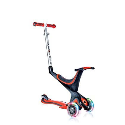 Globber 3 Wheel Adjustable Height Scooter with Convertible Seat Kit and LED Light Up Wheels