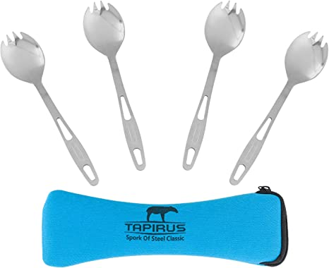Camping Titanium Cutlery Backpacking Utensils Sporks Portable Set Thick Flatware