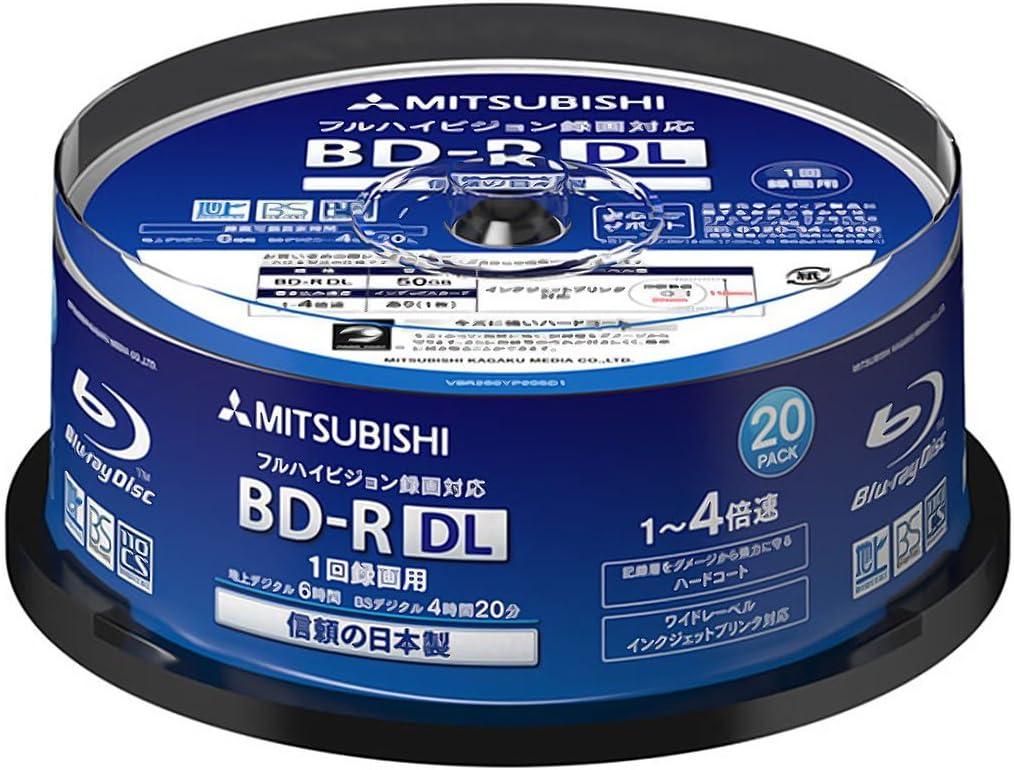 Printable Blu ray Verbatim Blu-ray Disc 20 Spindle 50 GB 4X Speed BD-R DL
