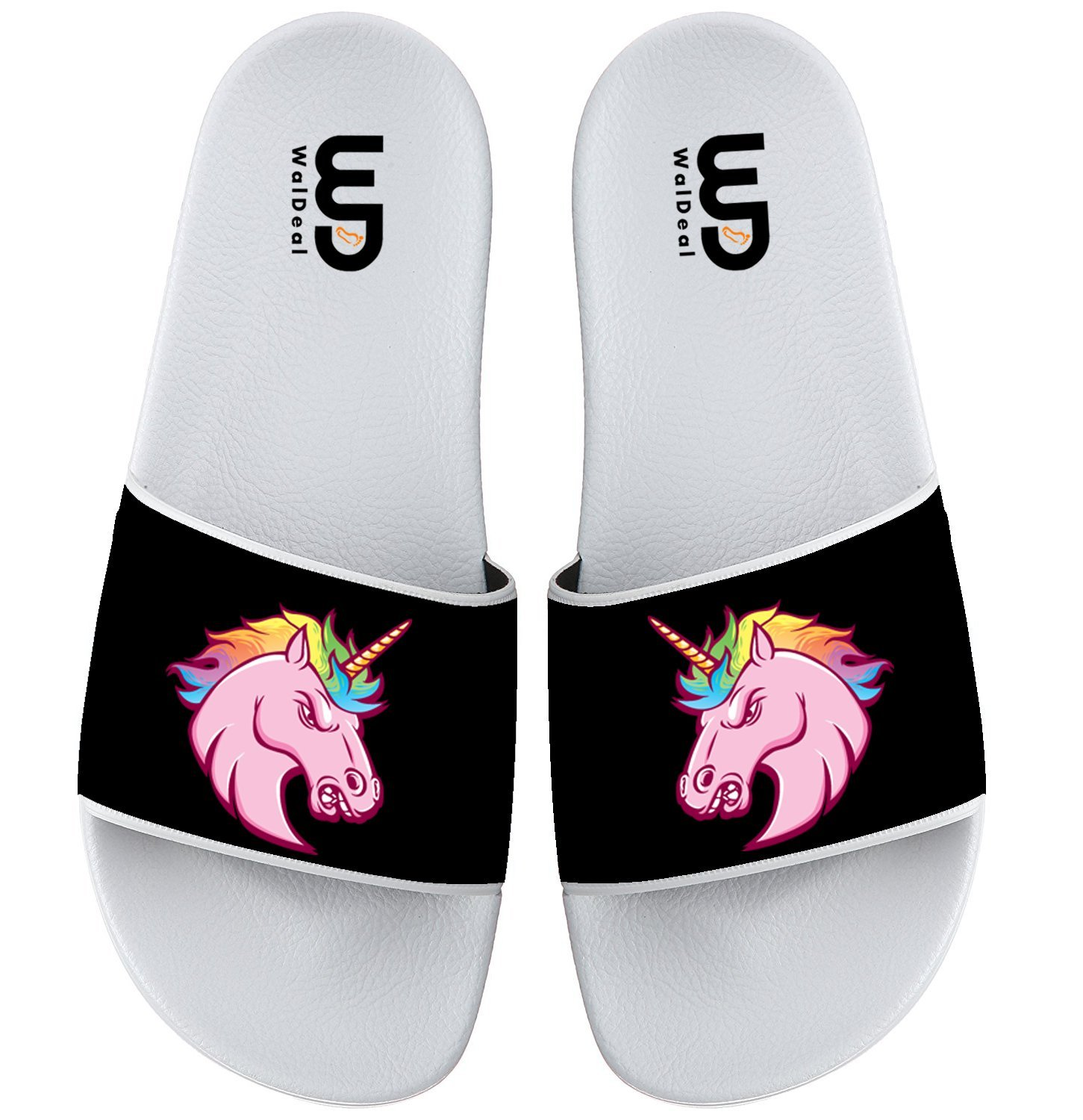 Unicorn With Rainbows And Clouds Summer Non-slip Slide Sandals Home Shoes Beach Swim Flip Flops Indoor and Outdoor Slipper Women Men B075P49YSV 7 B(M) US|Unicorn