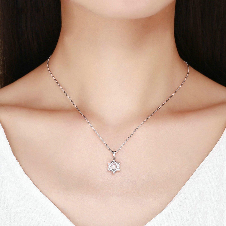 CS-DB Jewelry Silver Radiant Hexagram Clear CZ Chain Charm Pendants Necklaces