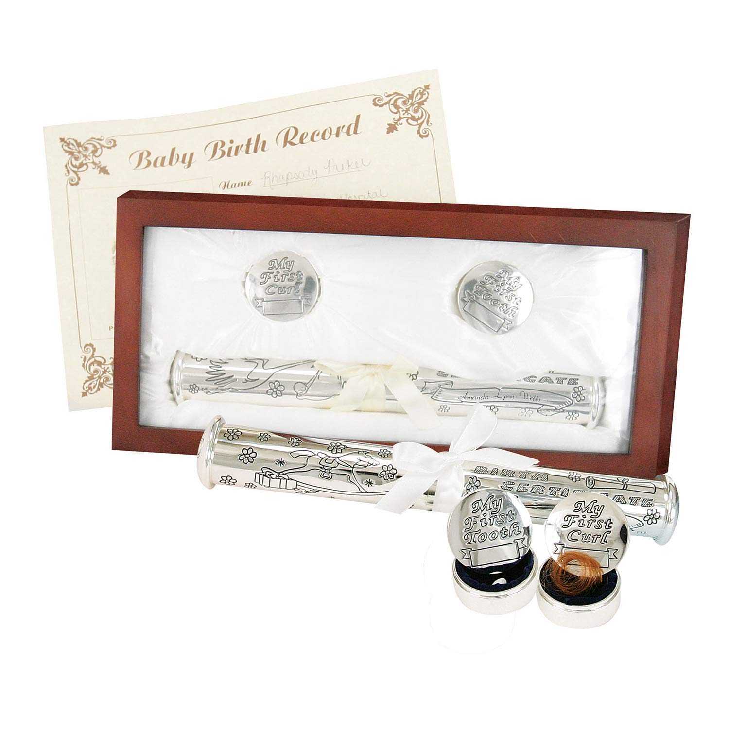 Stephan Baby Satin-Lined Rosewood Keepsake Box with Silver Plated Birth Certificate Holder, First Tooth and First Curl Boxes by Stephan Baby