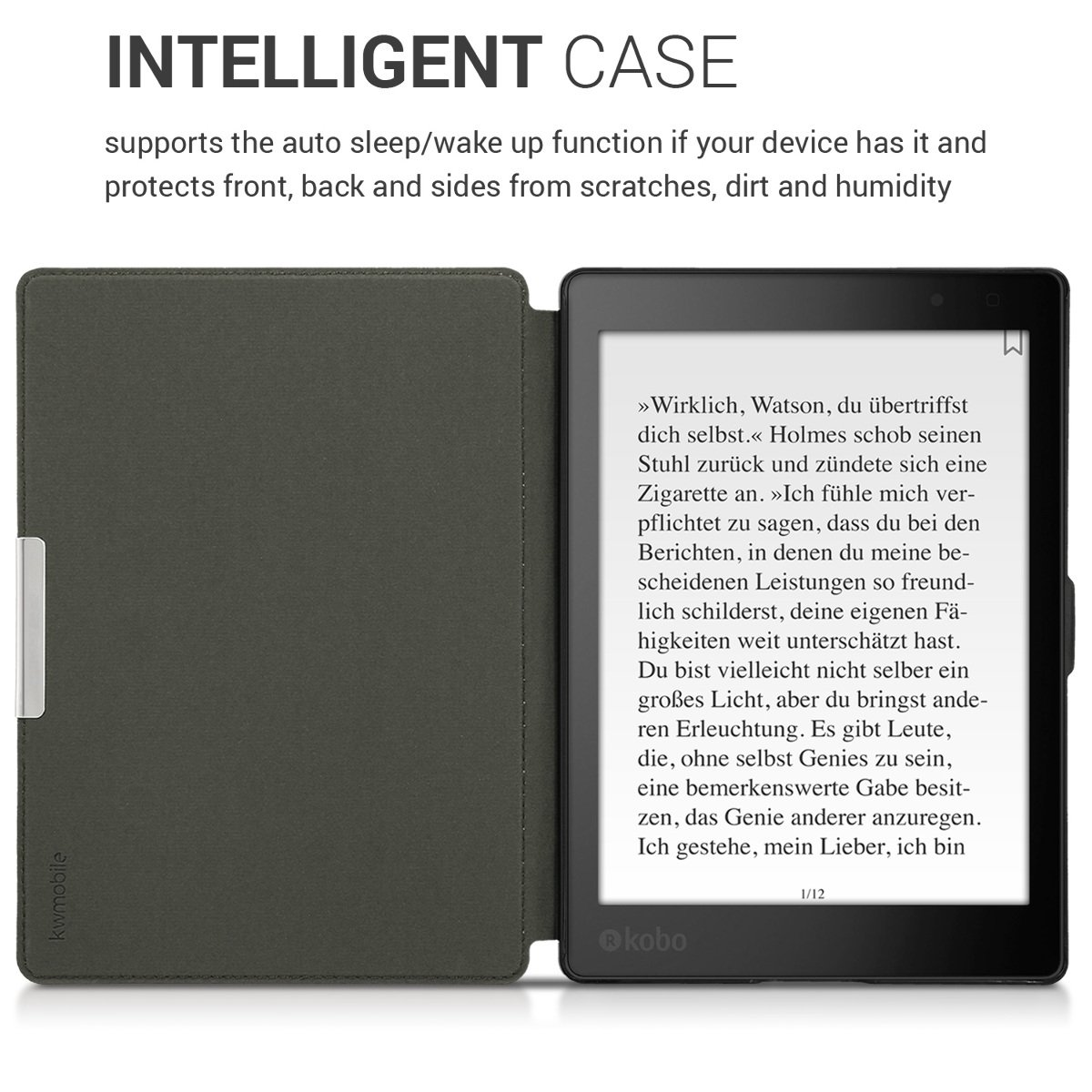 kwmobile Case for Kobo Aura ONE Grey//Black PU Leather and Canvas Protective e-Reader Cover Folio Case