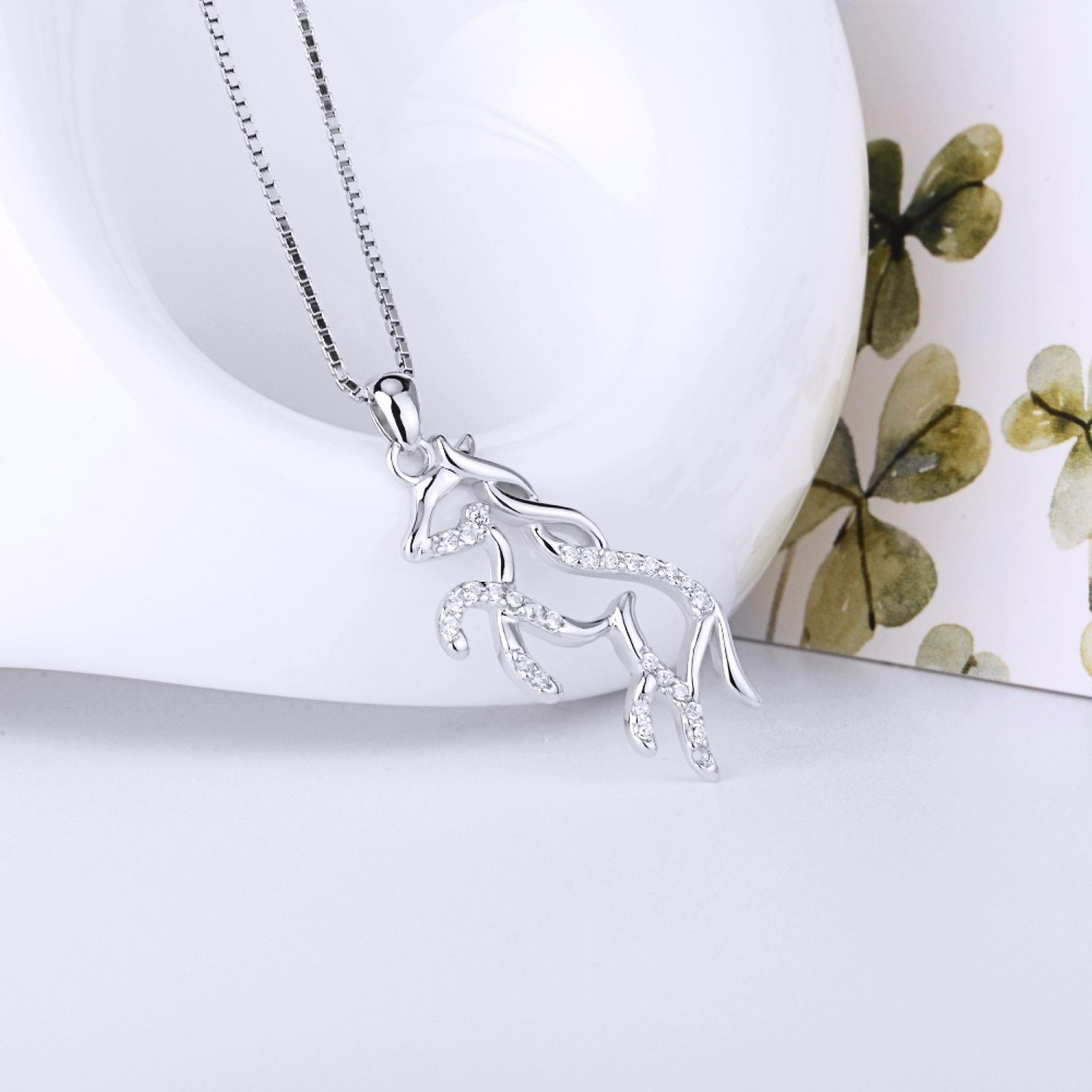 CS-DB Pendants Necklaces Silver Horse Stallion Running Horse Jewelry Girls