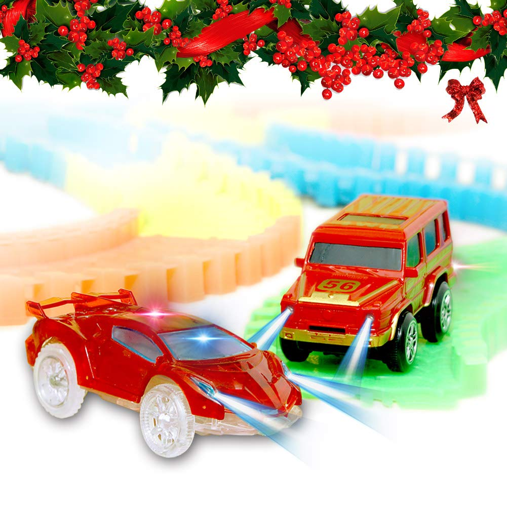 Light Up Toy Cars With 4 Flashing LED Lights Glow in the Dark Racing Track Accessories Compatible with Most Tracks Pack of 2