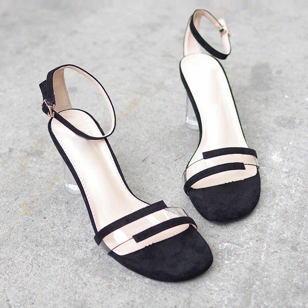 - DHG Sandales Transparentes Crystal Thick avec Boucle de Mot Wild Fairy chaussures Chaussures à Talons Hauts,Noir,39