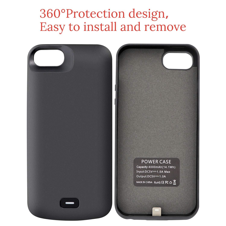 HQXHB Funda Batería para iPhone 5S/5/SE/SE2,4000mAh Funda Cargador Portatil Batería Externa Ultra Carcasa Batería Recargable Power Bank Case para ...
