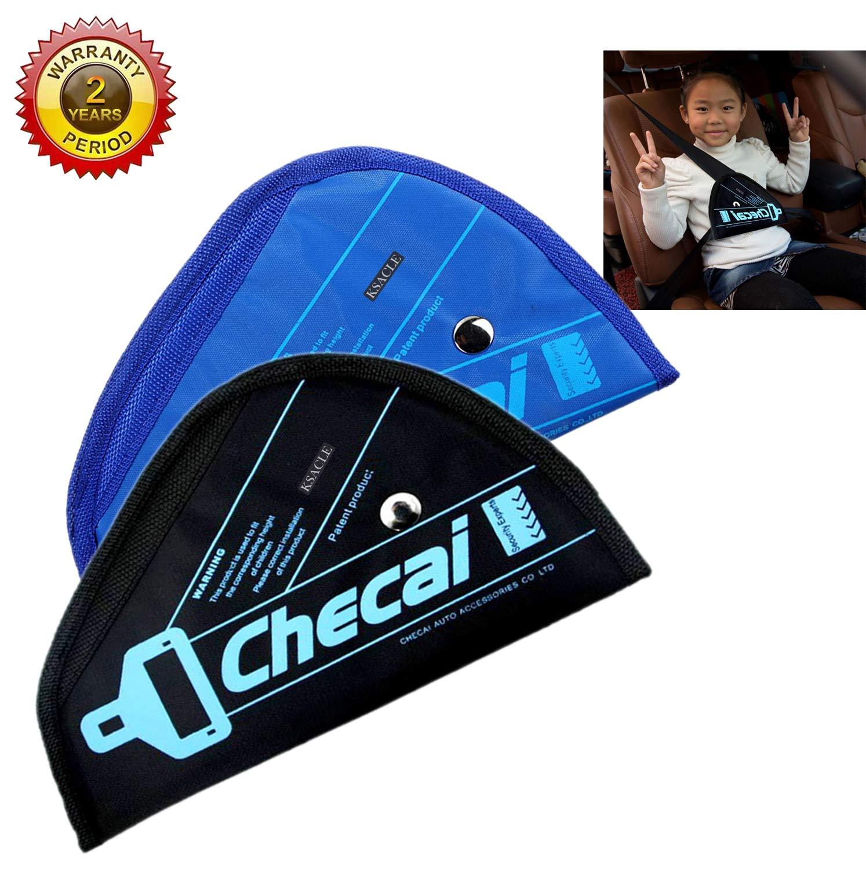 KSACLE Seat Belt Adjuster for Kids, 2 Pack Seat Belt Positioner Child Seatbelt Adjuster, Safety Covers Prevention of Neck Tightening for Your Baby (Black & Blue)