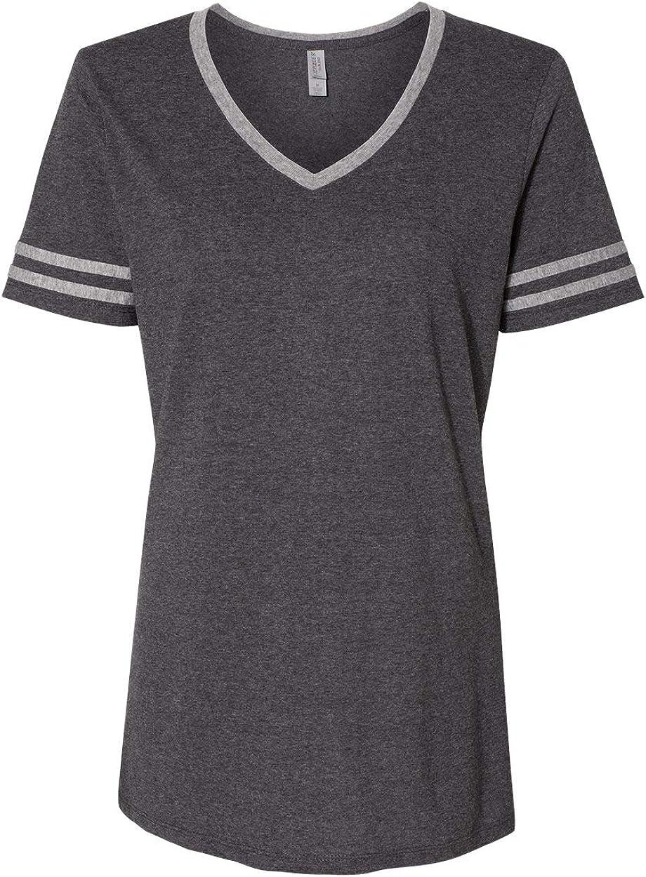 Jerzees Women's Tri-Blend V-Neck T-Shirt, True Blue Heather/Oxford, XXL