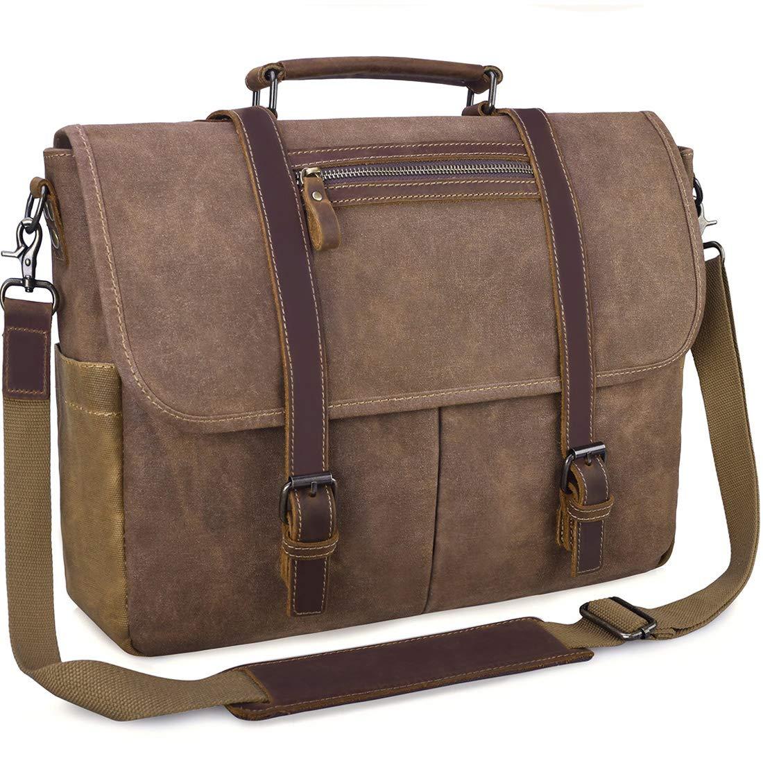6bf00a3a1b3d Mens Laptop Messenger Bag Waterproof Computer Leather Satchel Briefcases  Vintage Canvas Shoulder Bag Large Work Bag Brown 15.6 inch