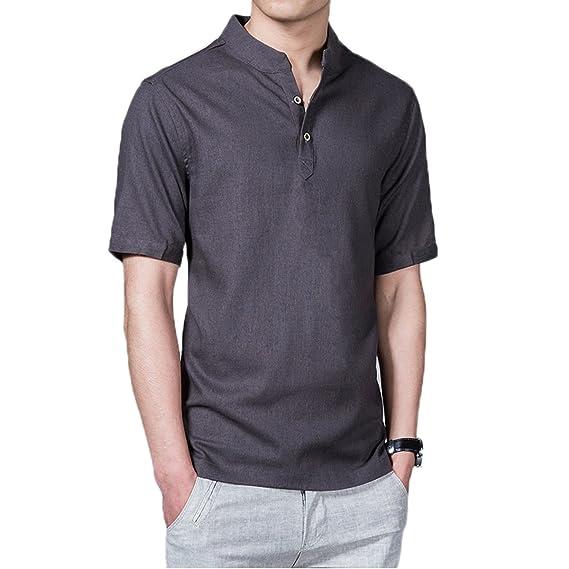Mirecoo - Camisa Casual - Cuello Mao - para Hombre Gris Oscuro X ...