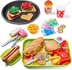 Geyiie Play Food Toys 55PCs Fast Food for Kids Kitchen, Toy Foods with Hamburger French Fries Ice Cream Hot Dog Fast Food for Pretend Play, Play Kitchen Accessories