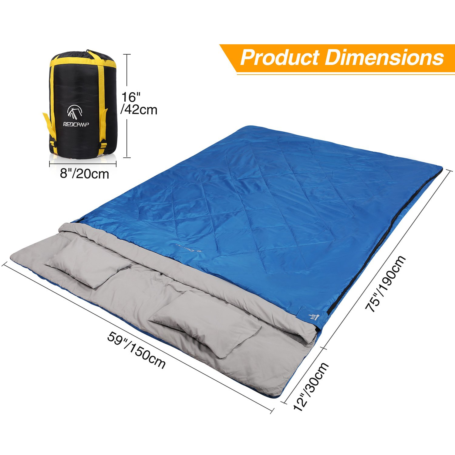 REDCAMP Double Sleeping Bag for Camping,2 Person Sleeping Bags with 2 Pillows, Queen Size Blue 3.3lbs Filling 75 12 x 59