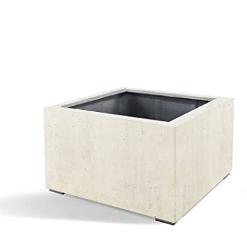 "Pflanzkübel ""Lite Low Cube"" Creme Weiß Quadratisch Fiberglas *5 ..."