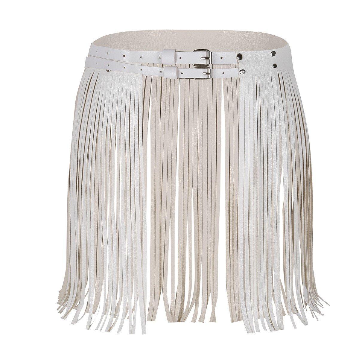 iiniim Women's Adjustable Faux Leather Waistband Fringe Tassel Skirt Belt White One Size