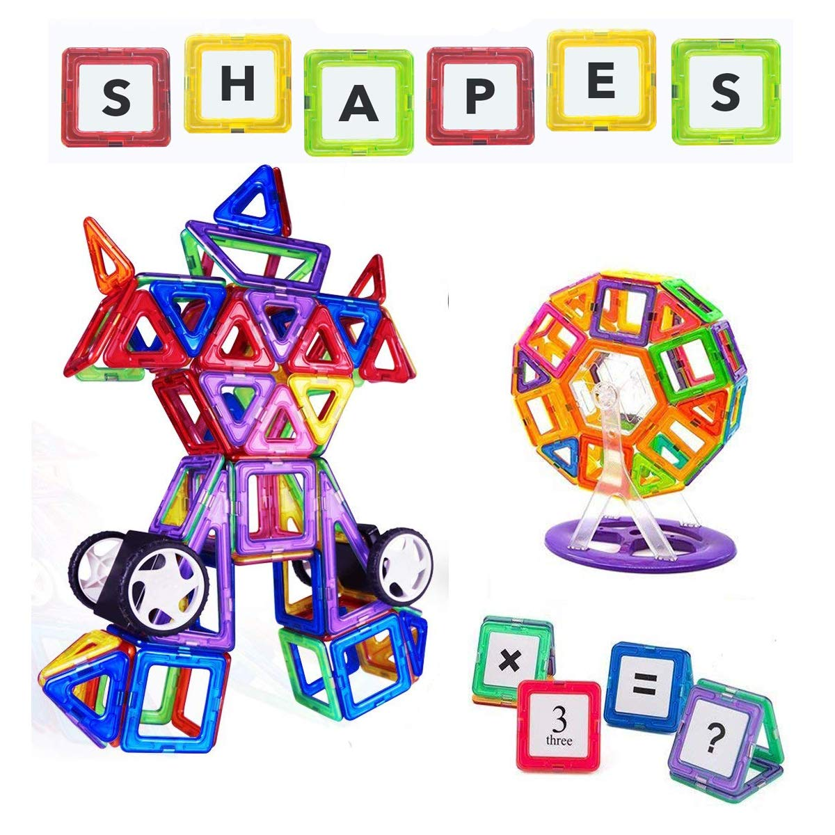114Pcs Magnetic Building Blocks Toys, Educational STEM Building Set Tiles for Boys and Girls, Preschool Construction Kit for Toddlers, Kids