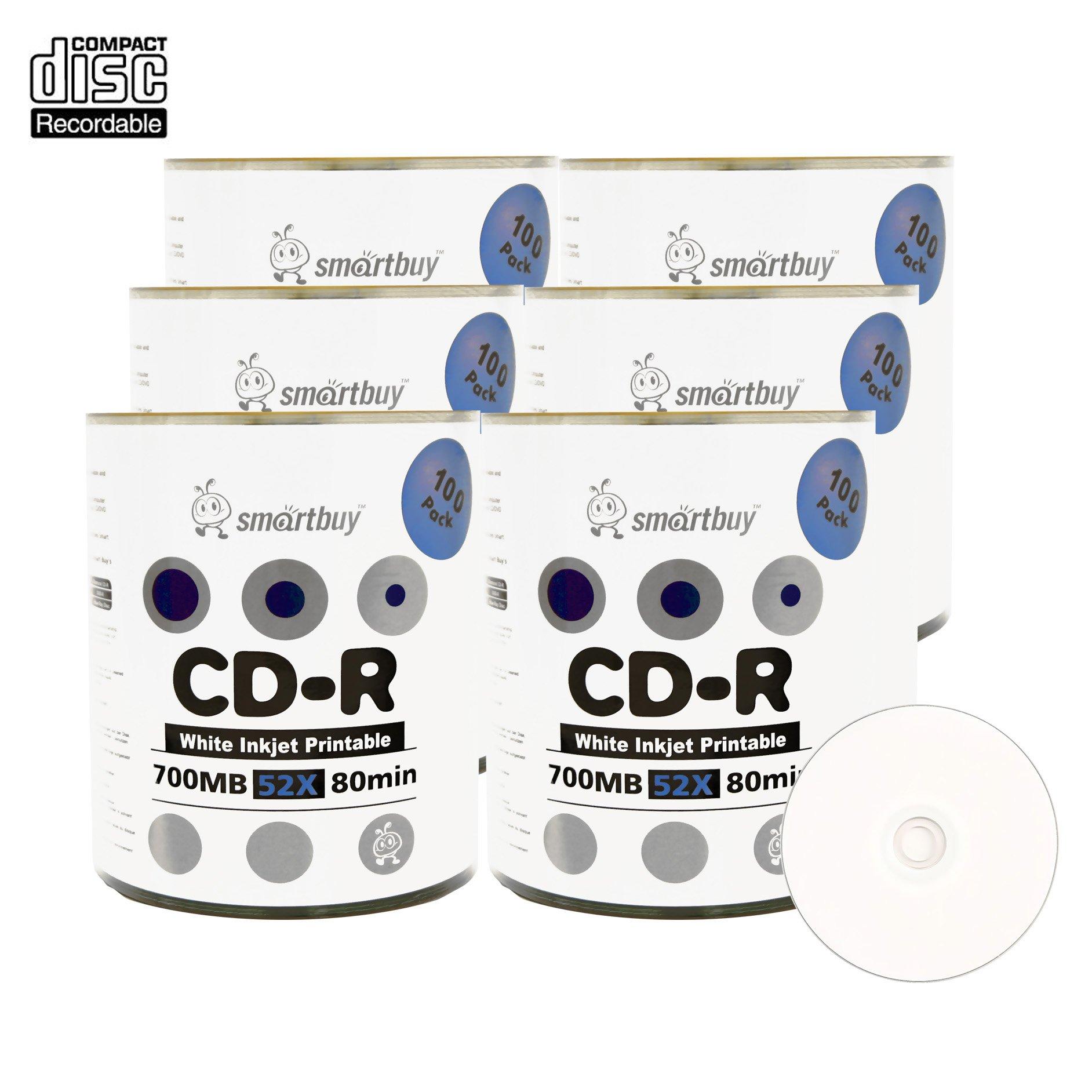 Smartbuy 700mb/80min 52x CD-R White Inkjet Hub Printable Blank Recordable Media Disc (600-Disc)