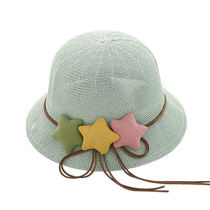 ef0e197f1ef Image Unavailable. Image not available for. Color  Star Toddler Straw  Summer Sun Beach Hats Kids Travel Broad-Brimmed Hat Blue